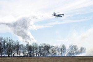 Spark ignites grass fire near Grouard