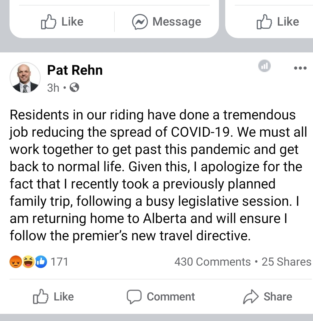 Vacationing MLA Rehn issues apology